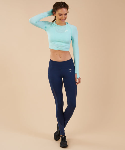 Gymshark Vital Seamless Long Sleeve Crop Top - Pale Turquoise Marl 3