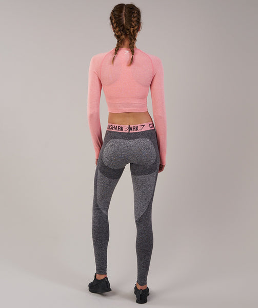 Gymshark Vital Seamless Long Sleeve Crop Top - Peach Pink Marl 1