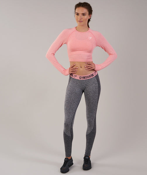 Gymshark Vital Seamless Long Sleeve Crop Top - Peach Pink Marl 3