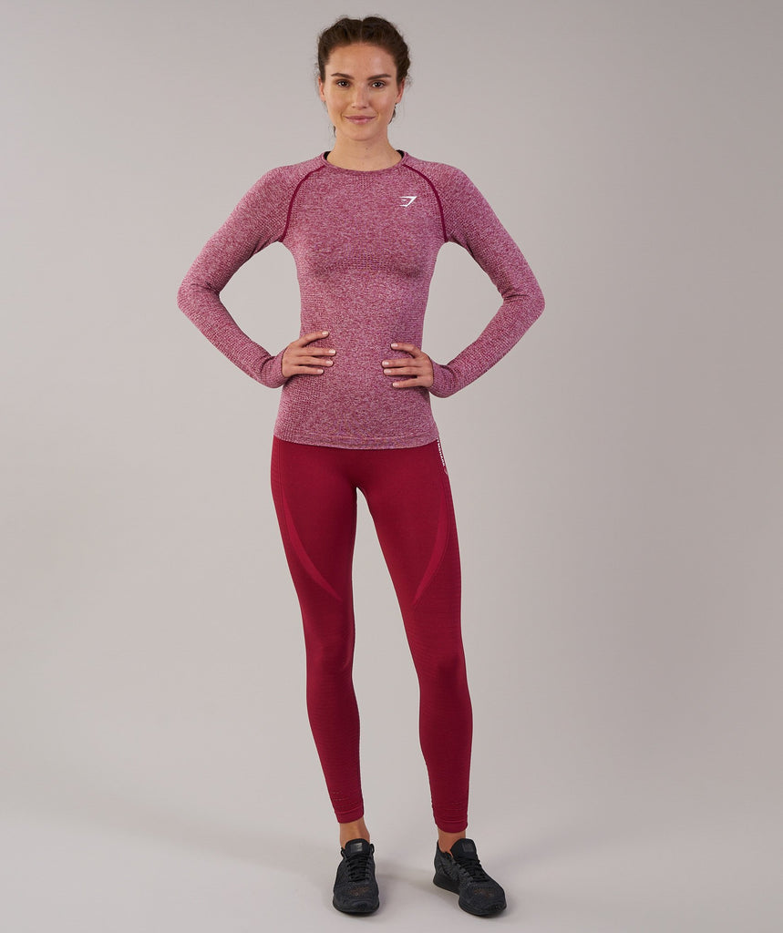 Gymshark Vital Seamless Long Sleeve Top - Beet Marl 1