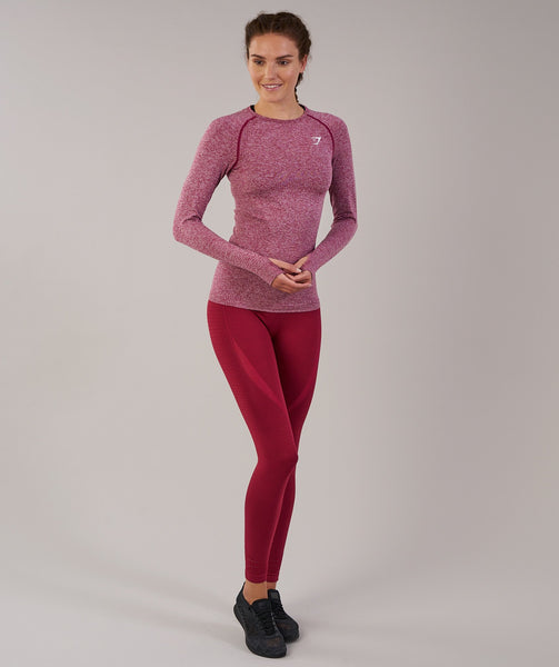 Gymshark Vital Seamless Long Sleeve Top - Beet Marl 3