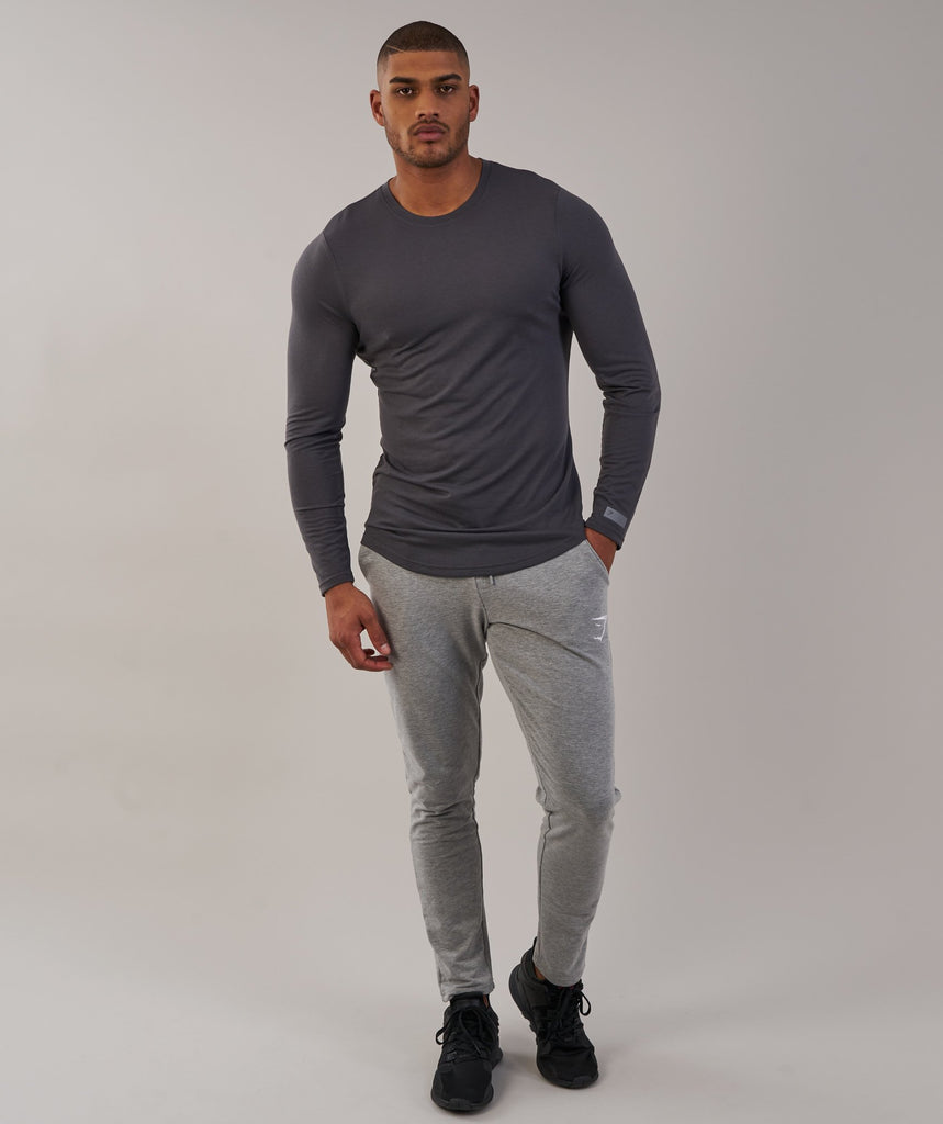 Gymshark Perforated Longline Long Sleeve T-Shirt - Charcoal 1