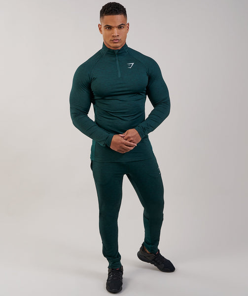 Gymshark Fallout 1/4 Zip Pullover - Forest Green Marl 3