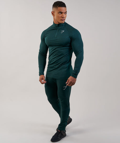 Gymshark Fallout 1/4 Zip Pullover - Forest Green Marl 2