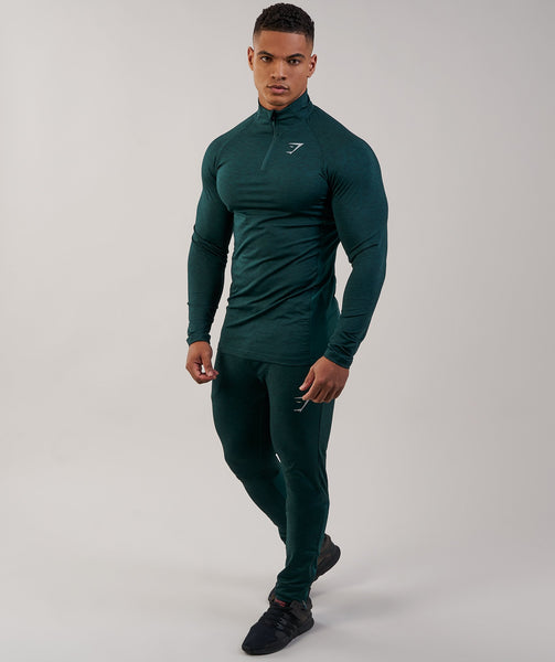 Gymshark Fallout 1/4 Zip Pullover - Forest Green Marl 4