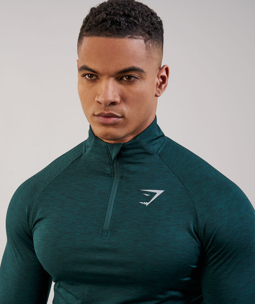 Gymshark Fallout 1/4 Zip Pullover - Forest Green Marl 5