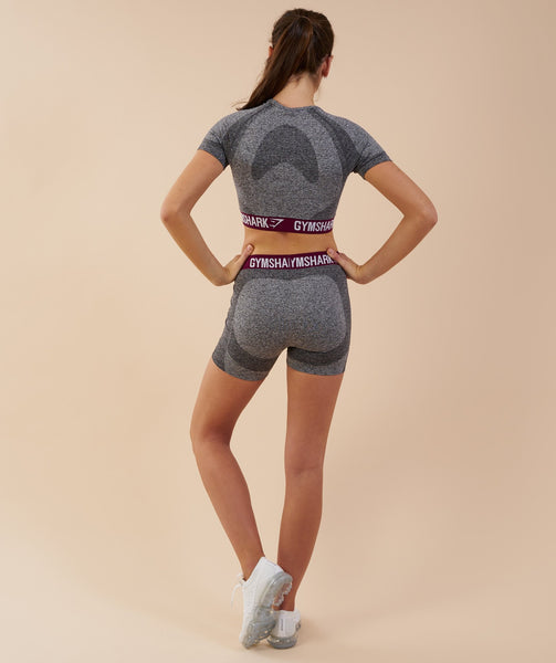 Gymshark Flex Crop Top - Charcoal/Deep Plum 1