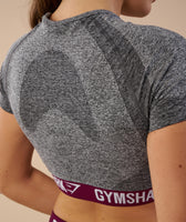 Gymshark Flex Crop Top - Charcoal/Deep Plum 12