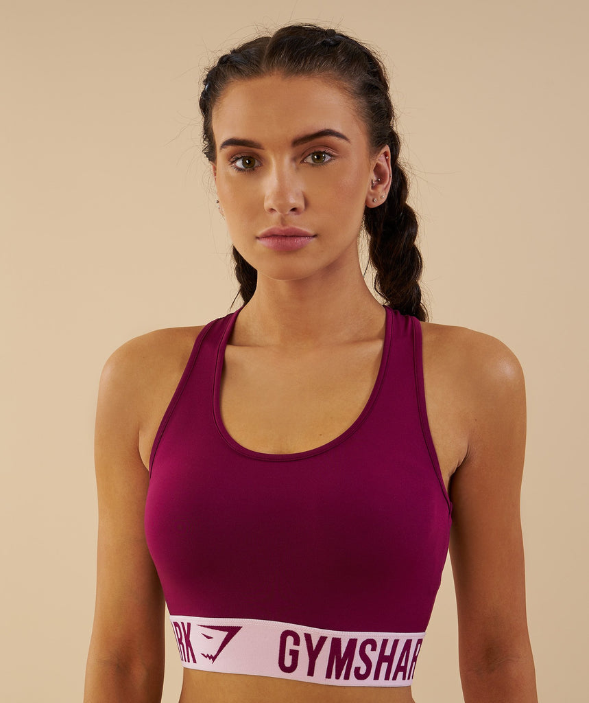 Gymshark Fit Sports Bra - Deep Plum/Chalk Pink 2