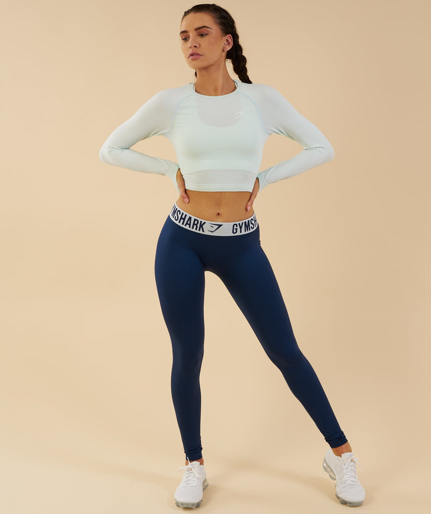 Gymshark Vital Seamless Long Sleeve Crop Top - Sea Foam Green 1