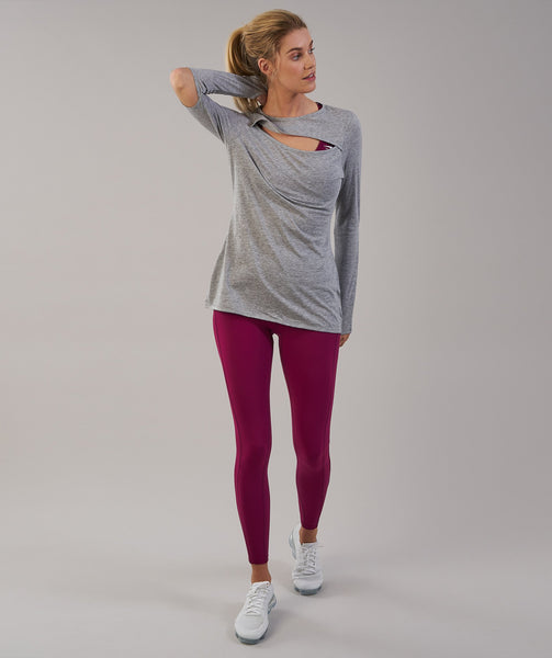 Gymshark Cut Out Long Sleeve - Light Grey 3