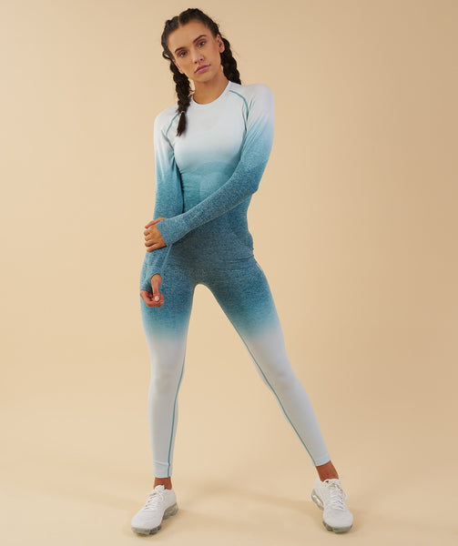 Gymshark Ombre Seamless Long Sleeve Top  - Deep Teal/Ice Blue 3