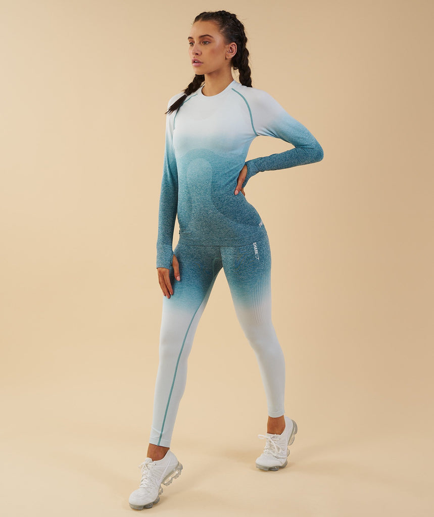 Gymshark Ombre Seamless Long Sleeve Top  - Deep Teal/Ice Blue 6