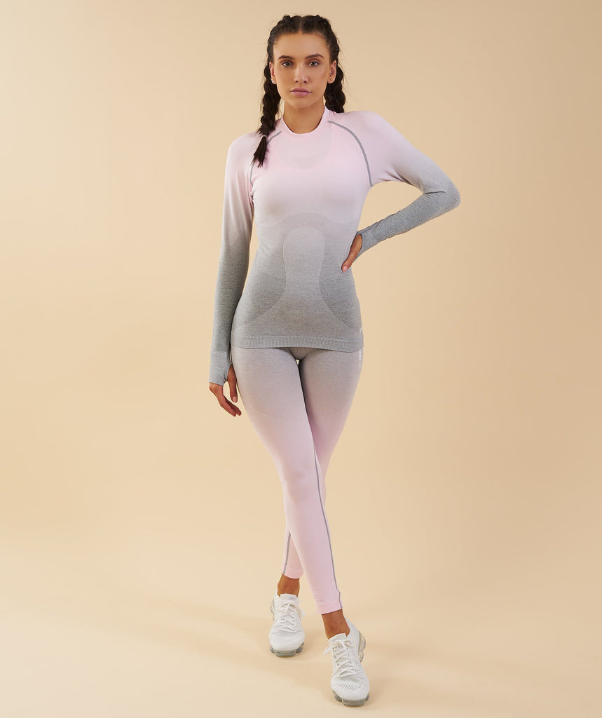 Gymshark Ombre Seamless Long Sleeve Top  - Light Grey/Chalk Pink 1