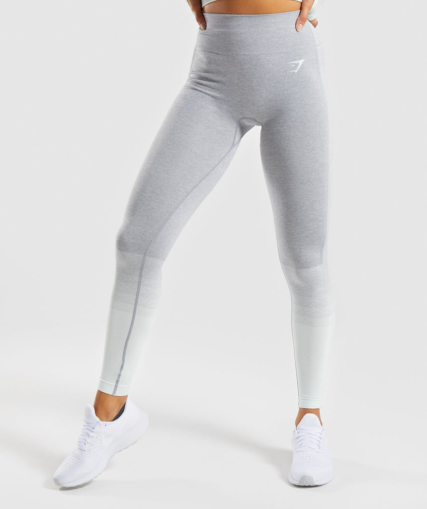 Gymshark Amplify Seamless Leggings - Light Grey Marl/Sea Foam Green 2