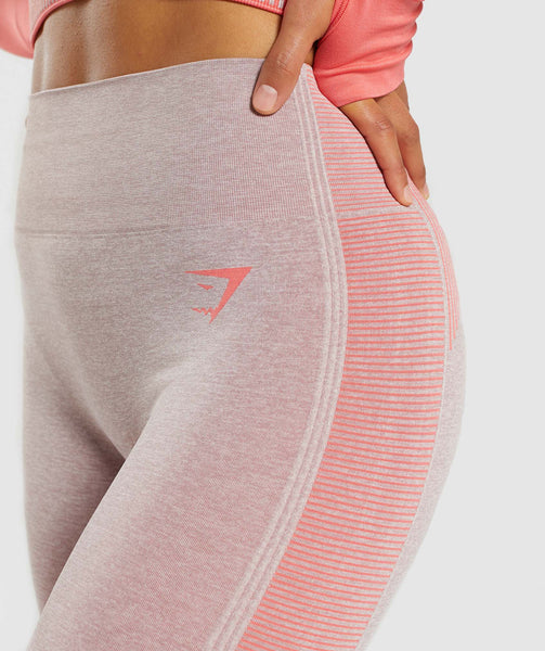 Gymshark Amplify Seamless Leggings - Taupe Marl/Peach Coral 3