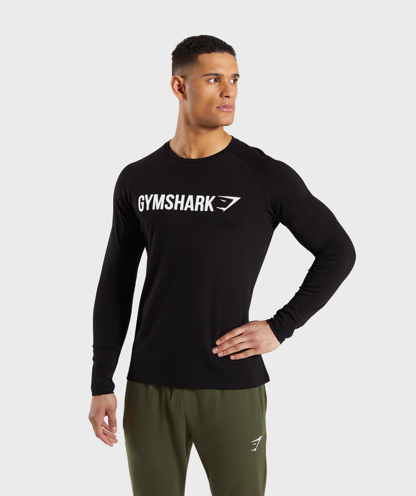 567c447b3bb Gymshark Apollo Long Sleeve T-Shirt - Black White 1