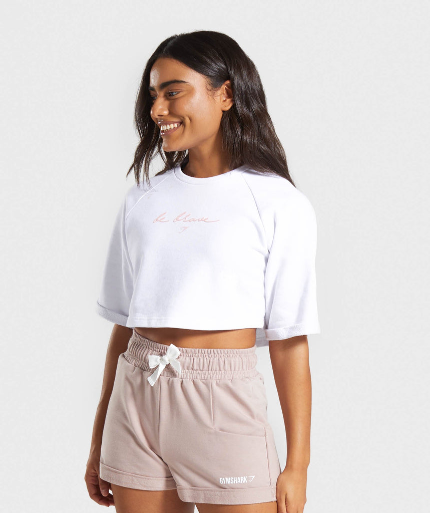Gymshark Be Brave Boxy Cropped Sweater - White 1