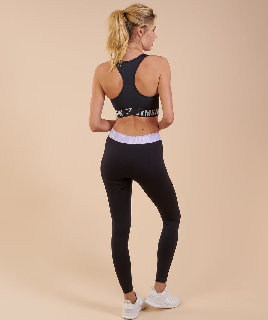 Gymshark Fit Cropped Leggings - Black/Pastel Lilac 2