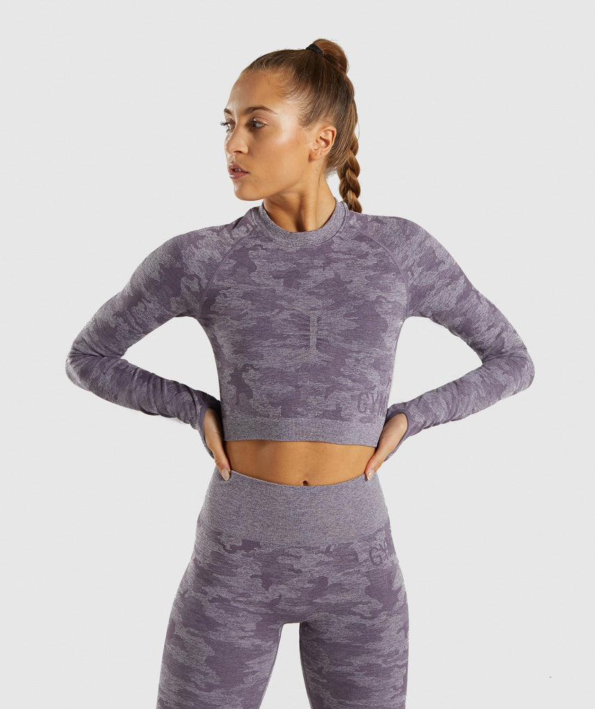 Gymshark Camo Seamless Long Sleeve Crop Top - Lavender Grey 1