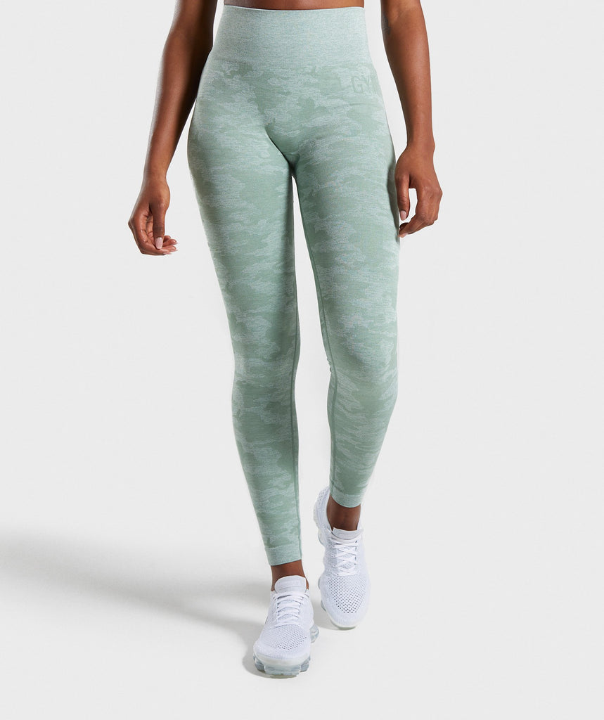 3c7750bc739 Gymshark Camo Seamless Leggings - Sage Green 1