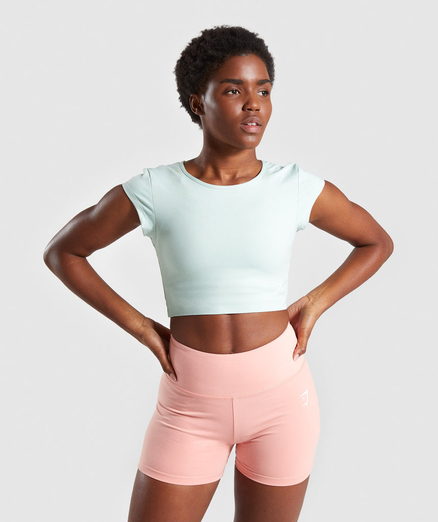 Gymshark Dreamy Cap Sleeve Crop Top - Light Green 1