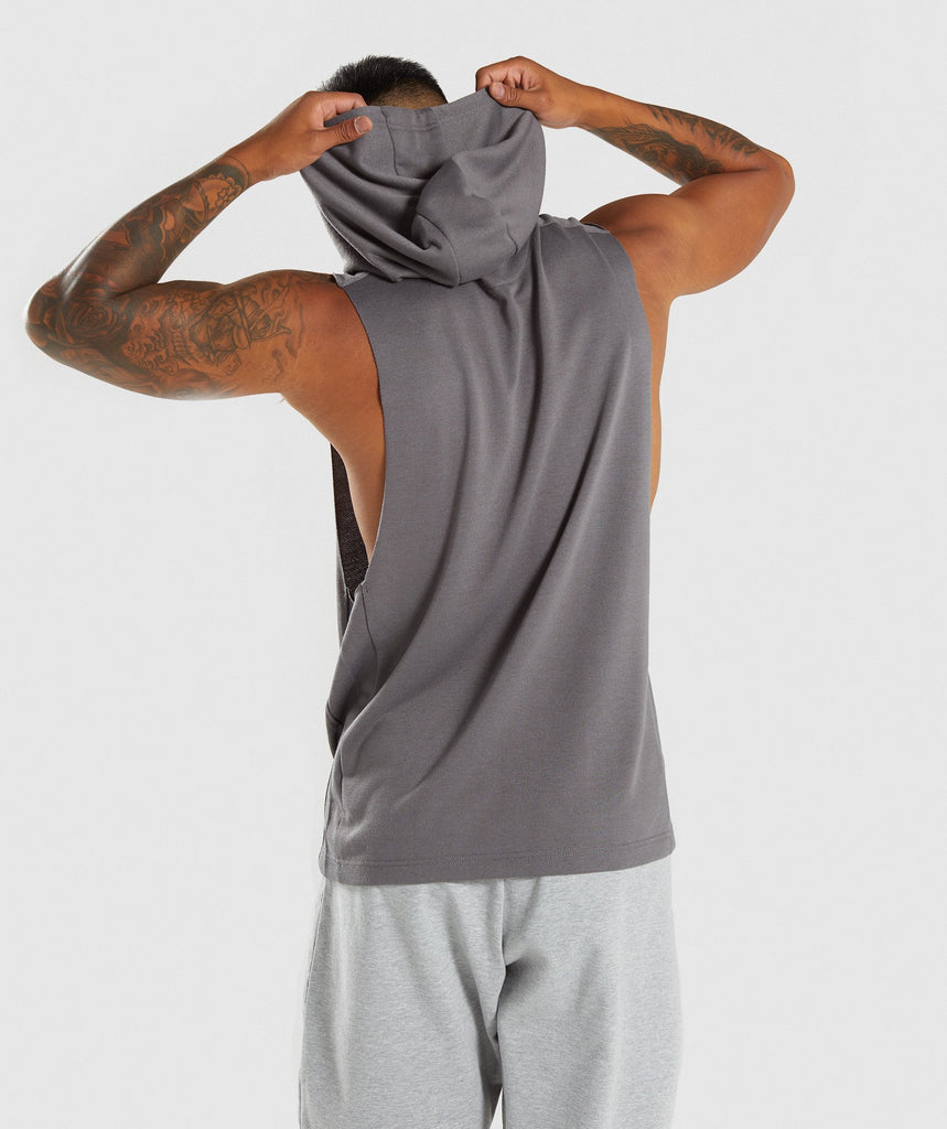 Gymshark Drop Arm Sleeveless Hoodie - Smokey Grey 2