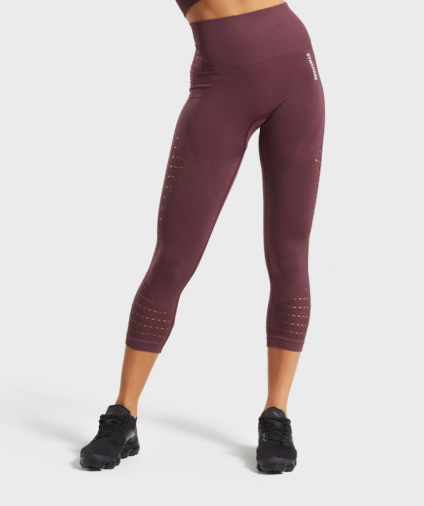 Gymshark Energy+ Seamless Cropped Leggings - Berry Red 1