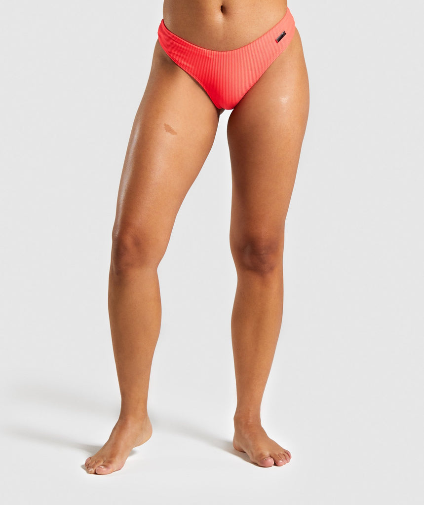 Gymshark Essence Low Rise Bikini Bottoms - Coral 1
