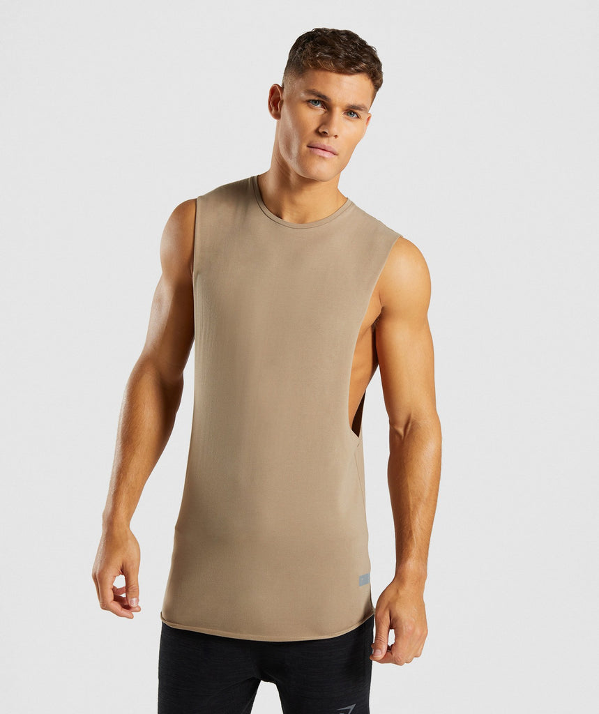 Gymshark Eaze Drop Arm Sleeveless T-Shirt - Driftwood Brown 1