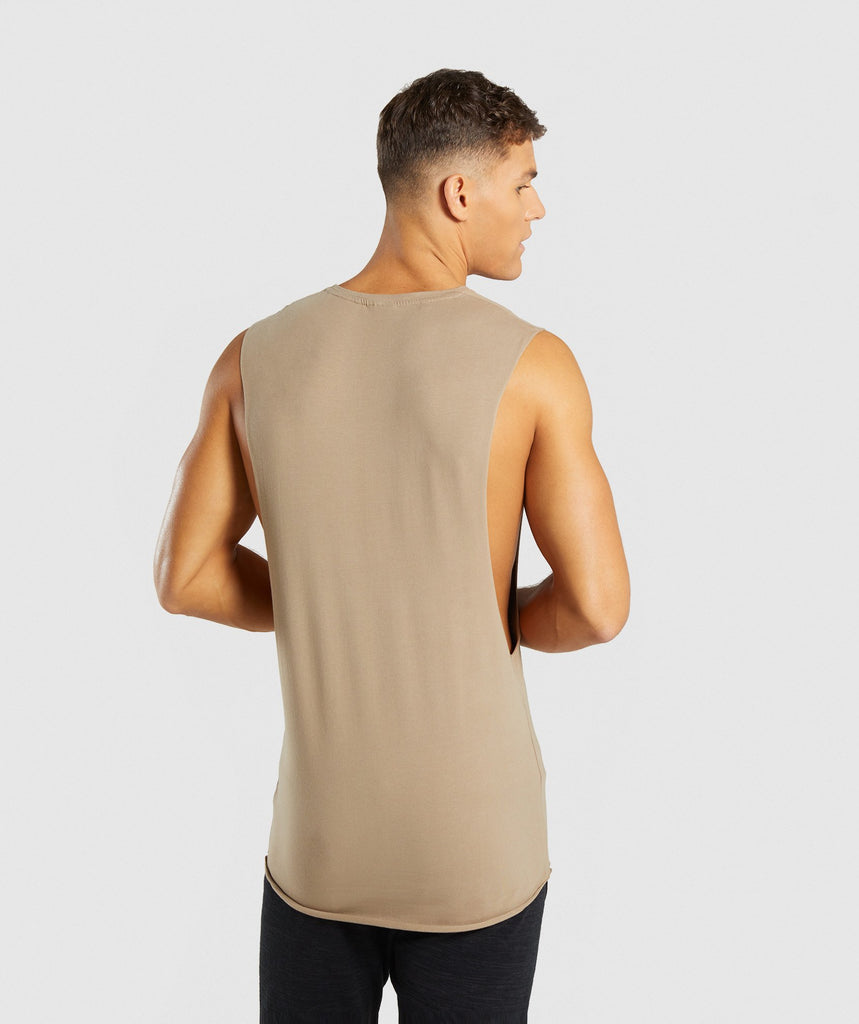 Gymshark Eaze Drop Arm Sleeveless T-Shirt - Driftwood Brown 2