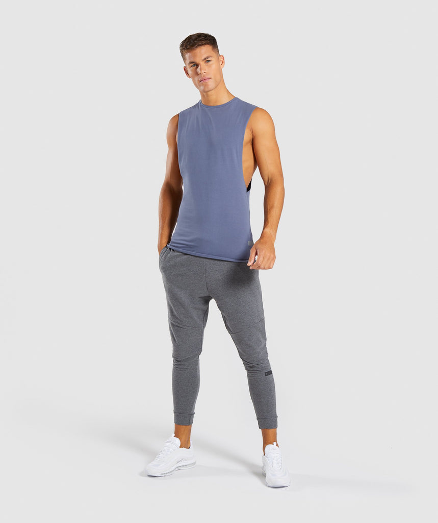 Gymshark Eaze Drop Arm Sleeveless T-Shirt - Aegean Blue 6