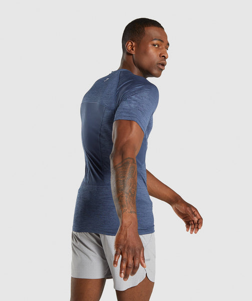 Gymshark Element+ Baselayer T-Shirt - Sapphire Blue Marl 1
