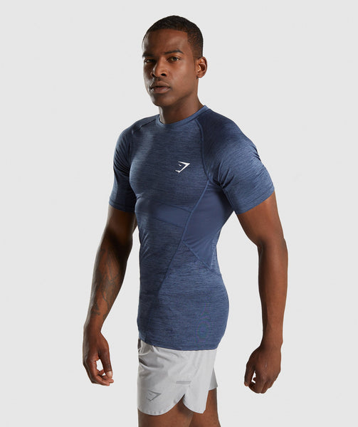 Gymshark Element+ Baselayer T-Shirt - Sapphire Blue Marl 2