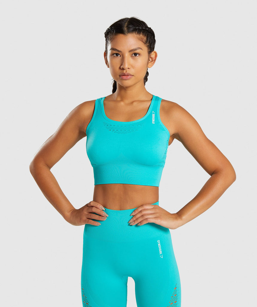 Gymshark Energy+ Seamless Crop Top - Tropical Blue 1