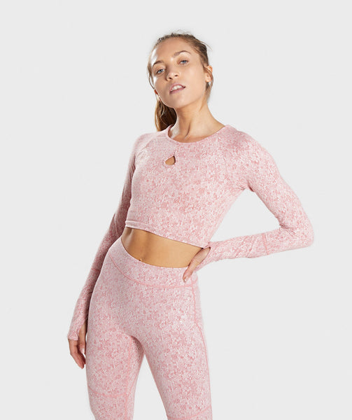 Gymshark Fleur Texture Long Sleeve Crop Top - Brick Red 4