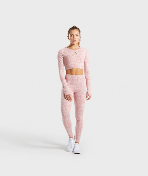 Gymshark Fleur Texture Long Sleeve Crop Top - Brick Red 3