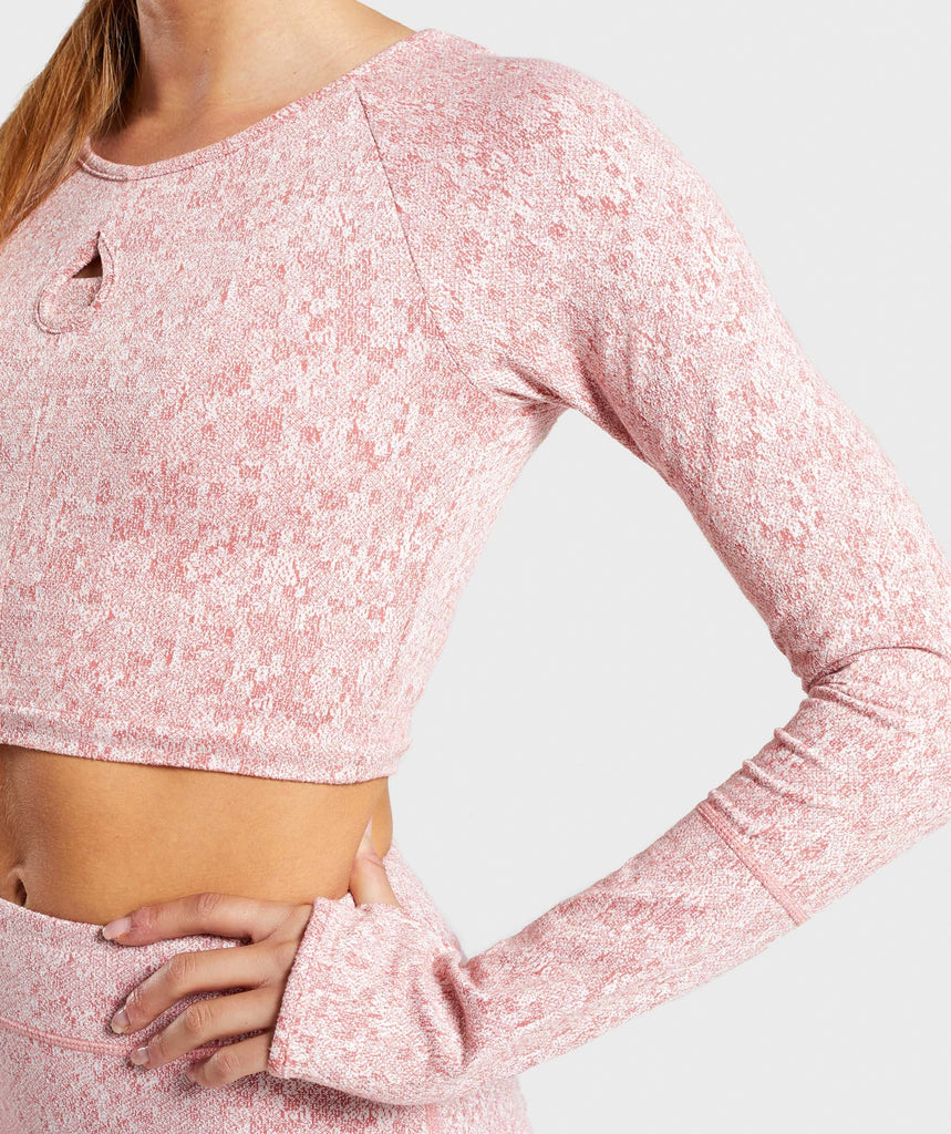 Gymshark Fleur Texture Long Sleeve Crop Top - Brick Red 6