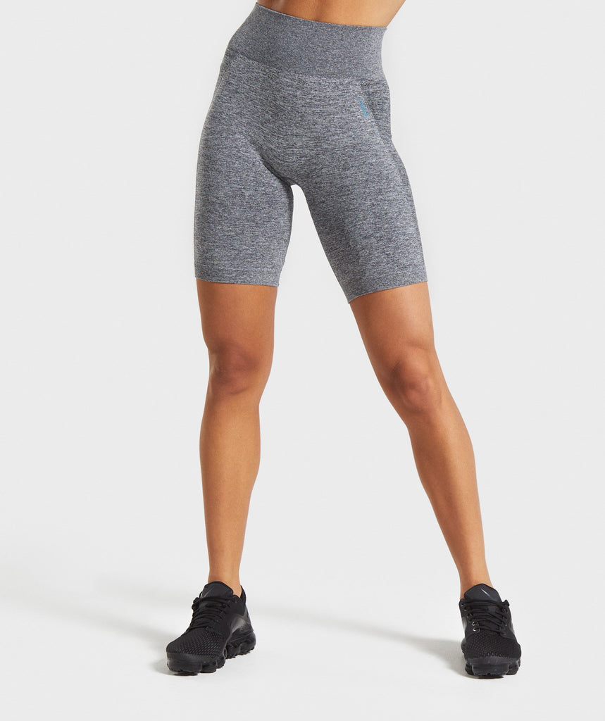 Gymshark Flex Cycling Shorts - Charcoal Marl/Teal 1