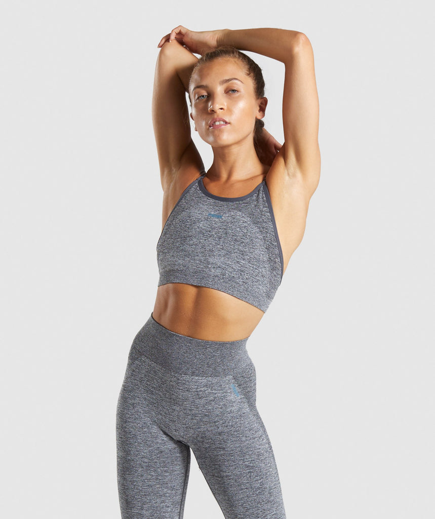 Gymshark Flex Strappy Sports Bra - Charcoal Marl/Teal 1