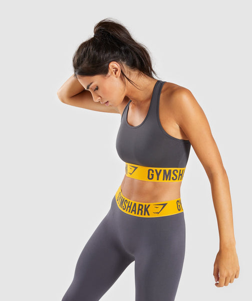 Gymshark Fit Sports Bra - Charcoal/Citrus Yellow 2