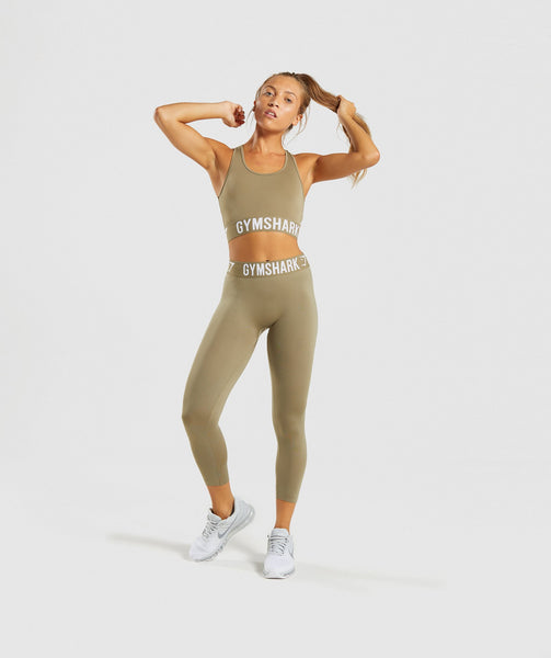 Gymshark Fit Sports Bra - Washed Khaki/White 3