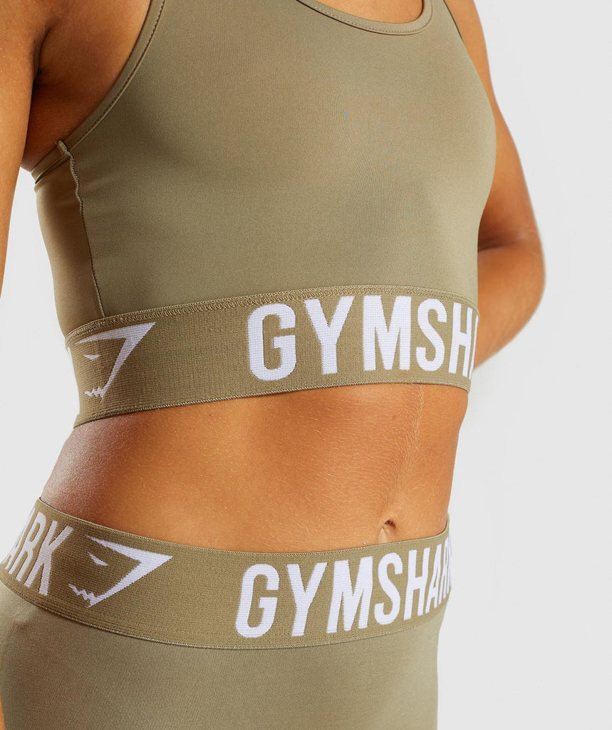 Gymshark Fit Sports Bra - Washed Khaki/White 5