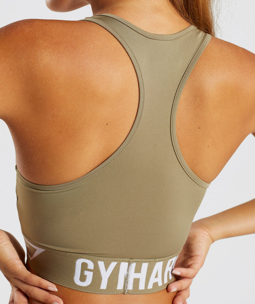 Gymshark Fit Sports Bra - Washed Khaki/White 6