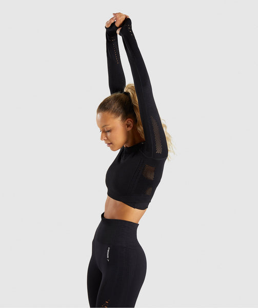 Gymshark Flawless Knit Long Sleeve Crop Top - Black 2