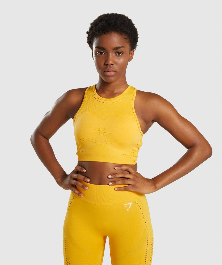 Gymshark Flawless Knit Sports Bra - Yellow 1