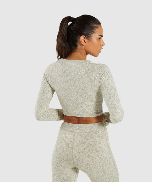 Gymshark Fleur Texture Long Sleeve Crop - Washed Khaki Marl 1