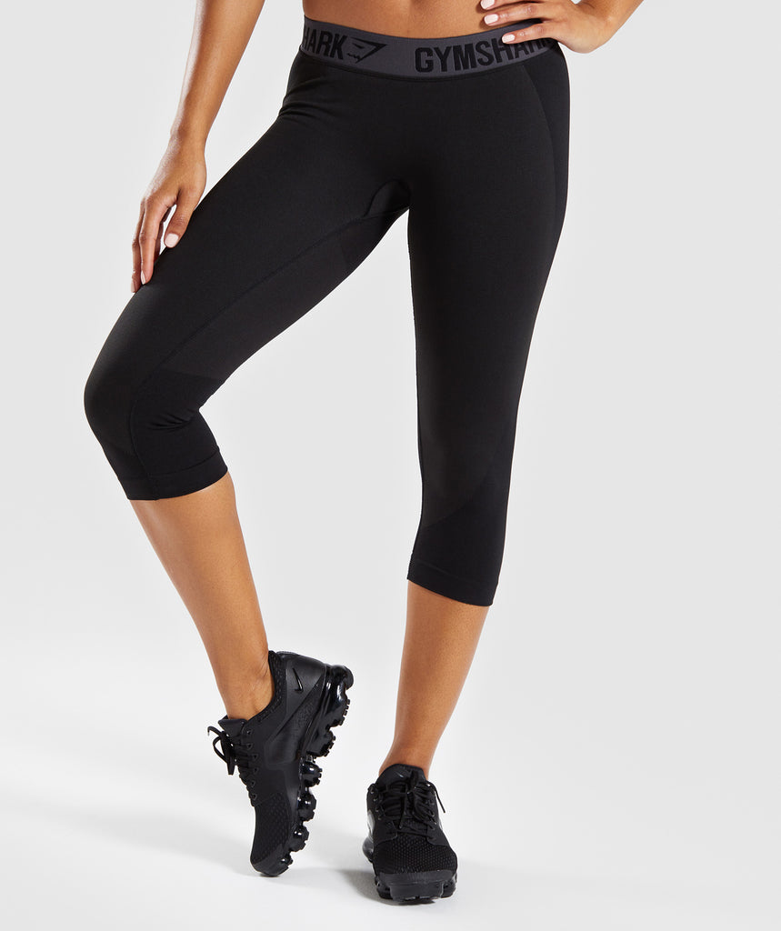Gymshark Flex Cropped Leggings - Black Marl/Charcoal 1
