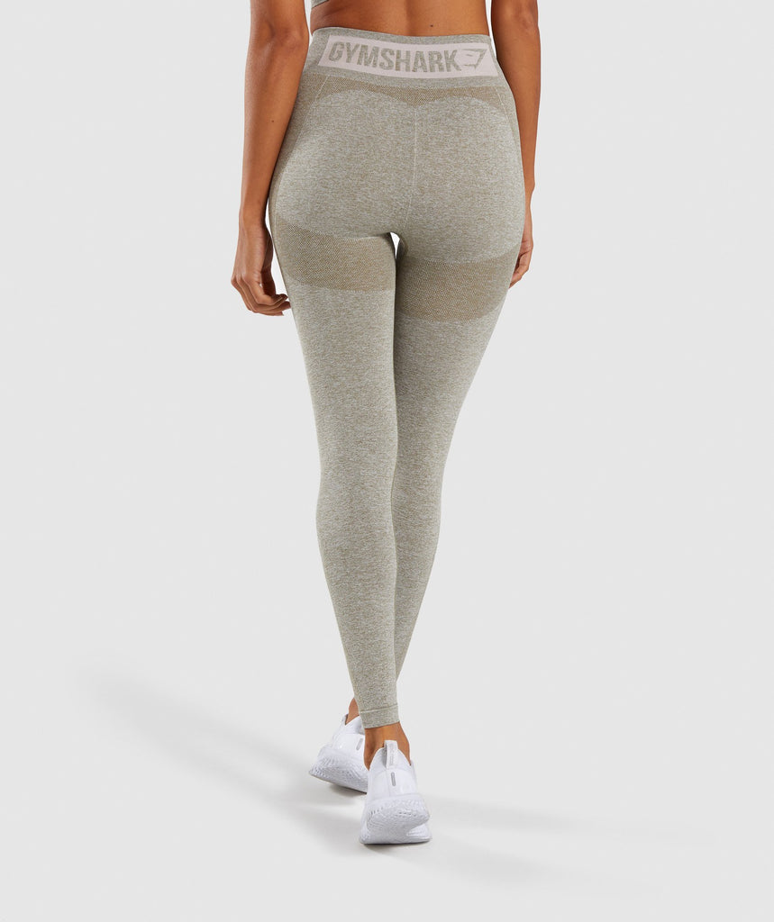 Gymshark Flex High Waisted Leggings - Washed Khaki Marl/Blush Nude 4