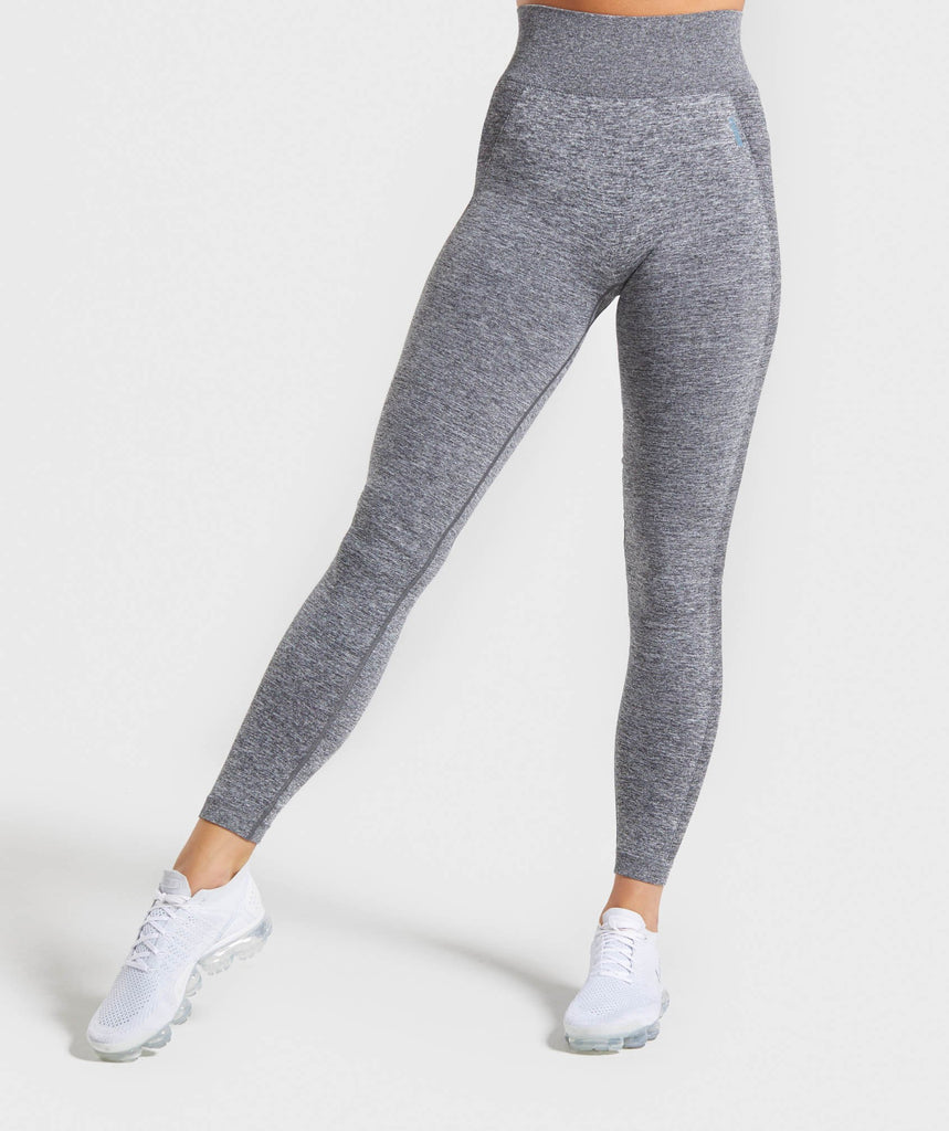 Gymshark Flex High Waisted Leggings - Charcoal Marl/Teal 1